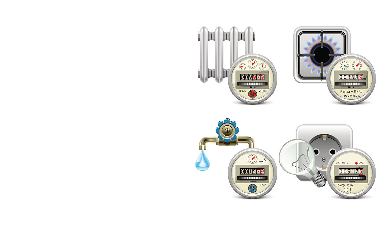 Vector counter with water, gas, electricity and heat icons, isolated on white background